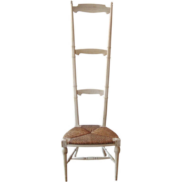 tall bleached ladder chair after back wooden chairs unfinished with rush seats for sale