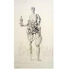 Surrealist Figural Pencil Drawing, J.C. Liberti, Argentina, 1970