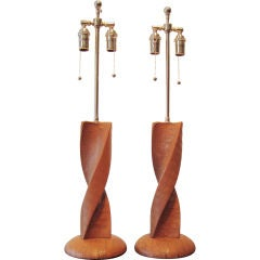 Chic Pair of Alligator Covered Table Lamps after Jacques Adnet
