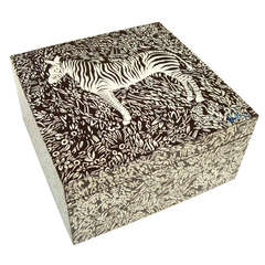 Large 1970's Bill Blass Lacquered Zebra Box