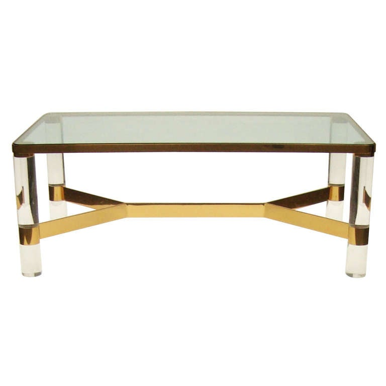 Karl springer brass and lucite cocktail table circa 1980 for Lucite and brass coffee table