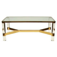Karl Springer Brass and Lucite Cocktail Table, circa 1980