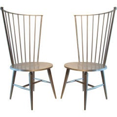 Pair of John Vesey Cast Aluminum Windsor Chairs