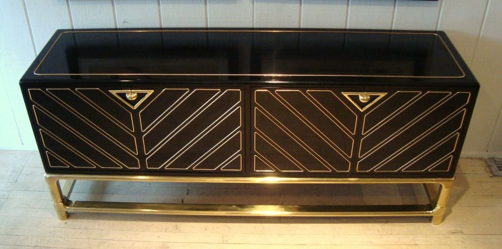 Sleek 1970's Black Lacquer and Brass Mastercraft Sideboard image 2