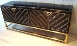 Sleek 1970's Black Lacquer and Brass Mastercraft Sideboard thumbnail 3