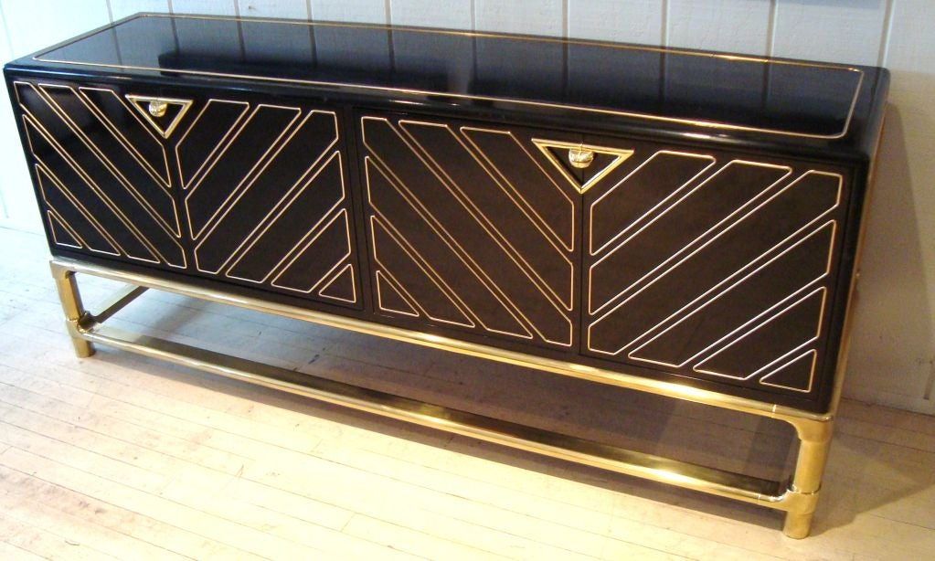Sleek 1970's Black Lacquer and Brass Mastercraft Sideboard image 3