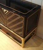 Sleek 1970's Black Lacquer and Brass Mastercraft Sideboard thumbnail 4