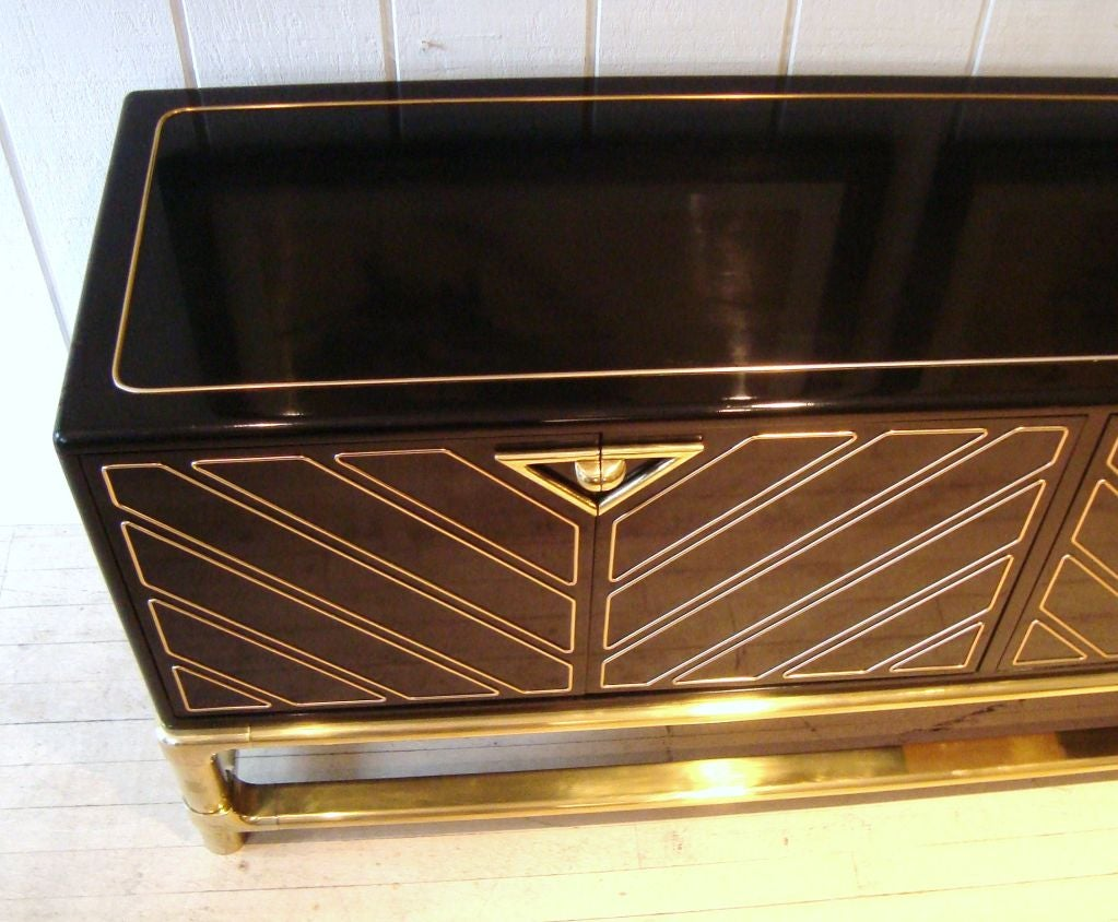 Sleek 1970's Black Lacquer and Brass Mastercraft Sideboard image 5