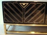 Sleek 1970's Black Lacquer and Brass Mastercraft Sideboard thumbnail 7
