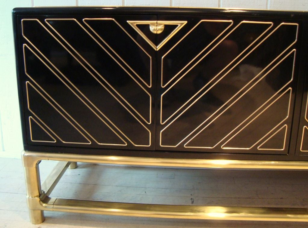 Sleek 1970's Black Lacquer and Brass Mastercraft Sideboard image 7