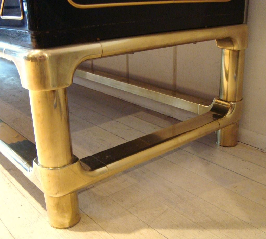 Sleek 1970's Black Lacquer and Brass Mastercraft Sideboard image 9