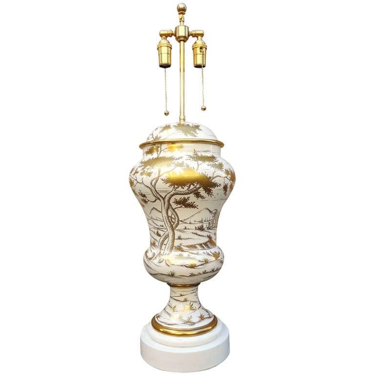 Monumental 1950's Italian Zaccagnini Art Pottery Table Lamp