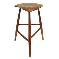 Rare Wharton Esherick Studio Walnut and Oak Stool, 1966
