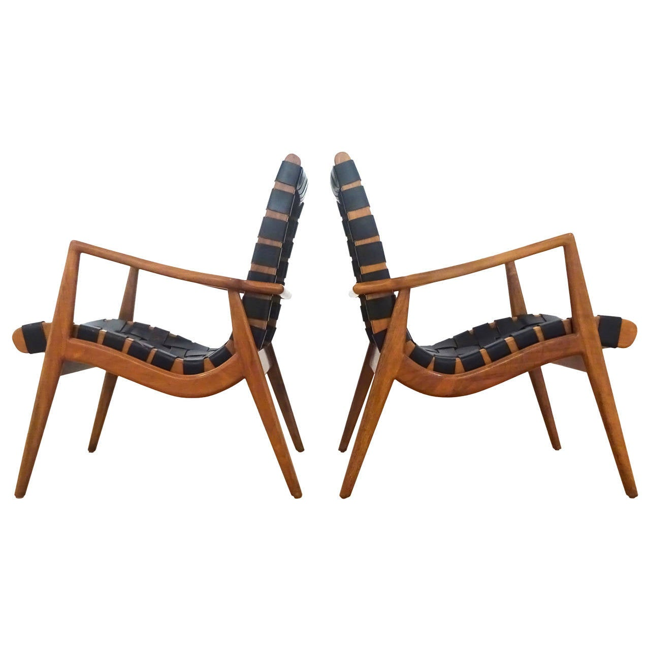Sculptural Pair of 1950s Mel Smilow Walnut and Leather Lounge Chairs