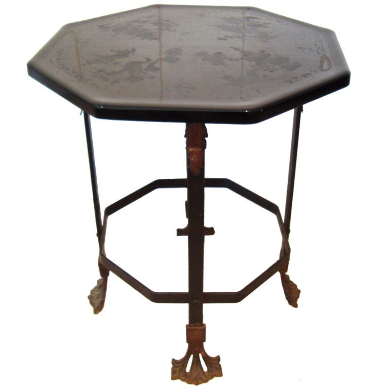 1920 39 s italian glass and wrought iron side table at 1stdibs for Wrought iron and glass side tables
