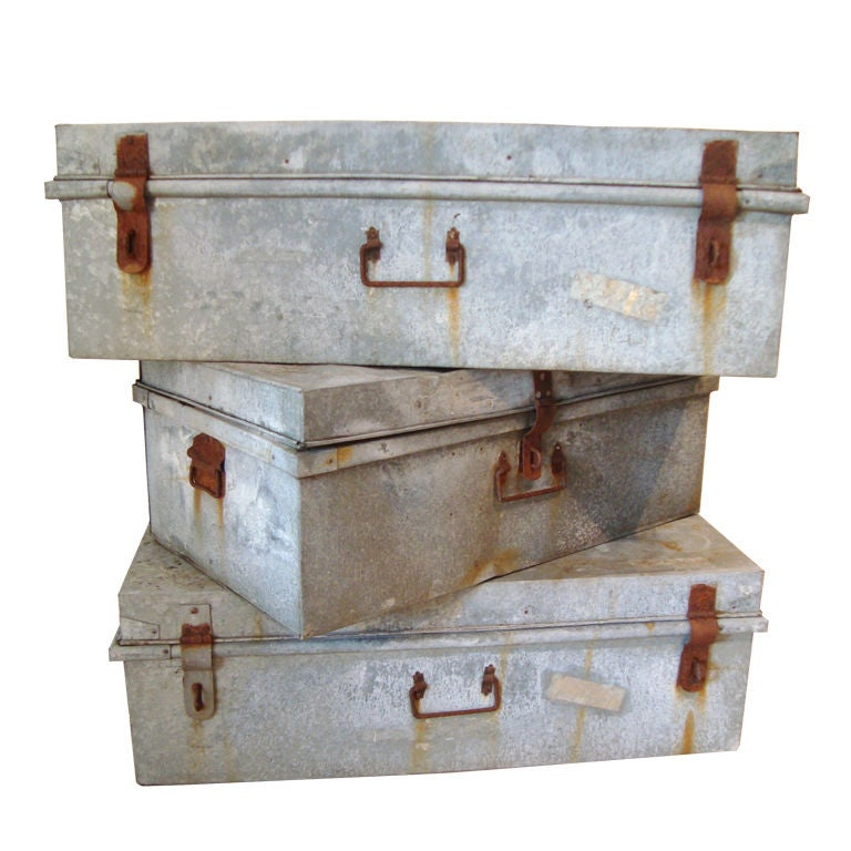 Collection of Large Vintage Industrial Zinc Trunks