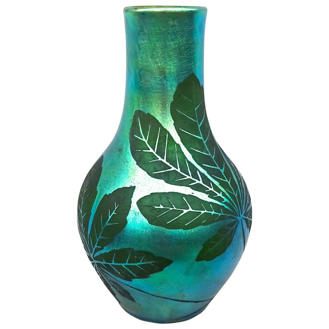 French Deco Iridescent Acid-Etched Art Glass Vase, 1920s For Sale