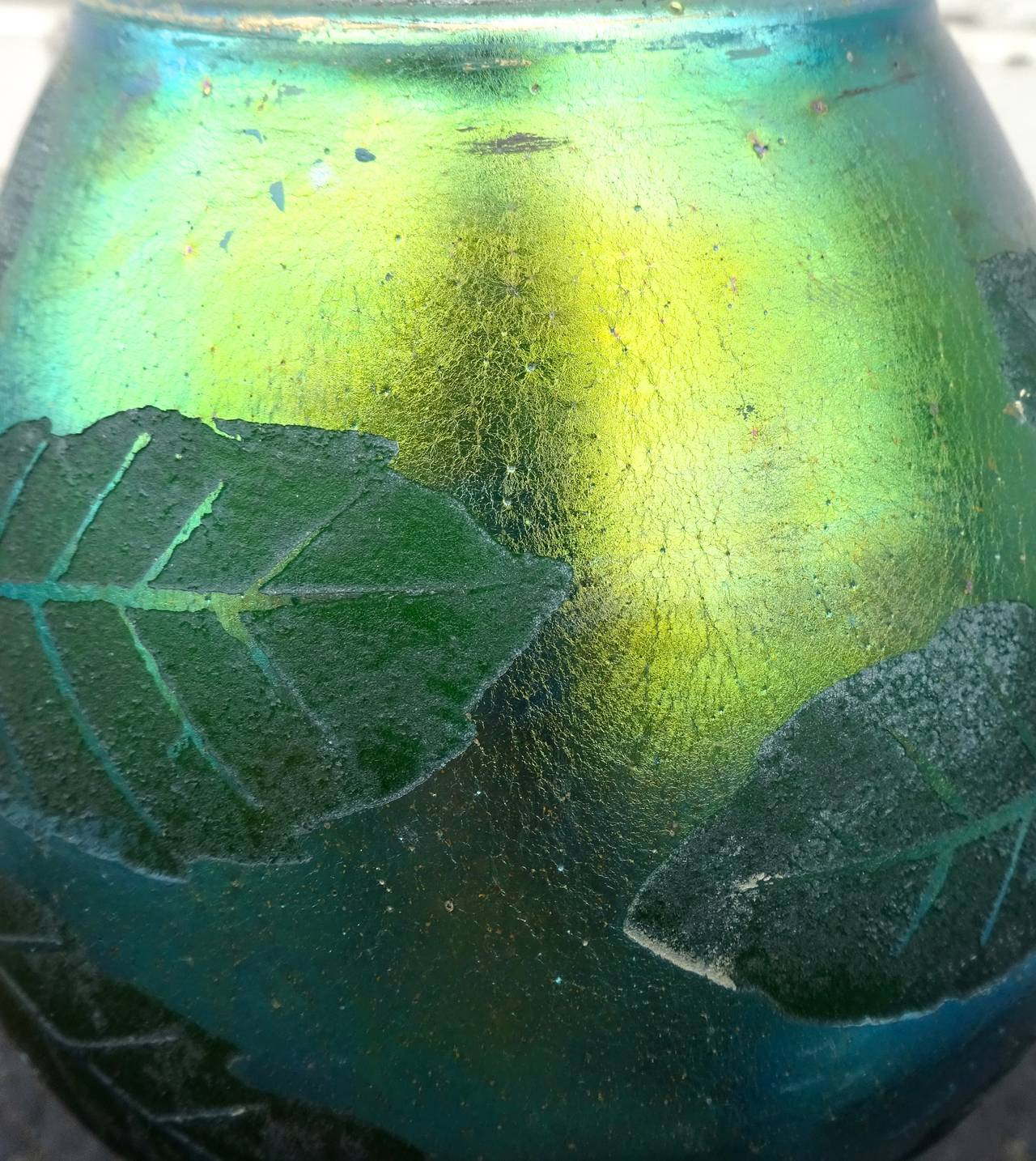 French Deco Iridescent Acid-Etched Art Glass Vase, 1920s For Sale 5