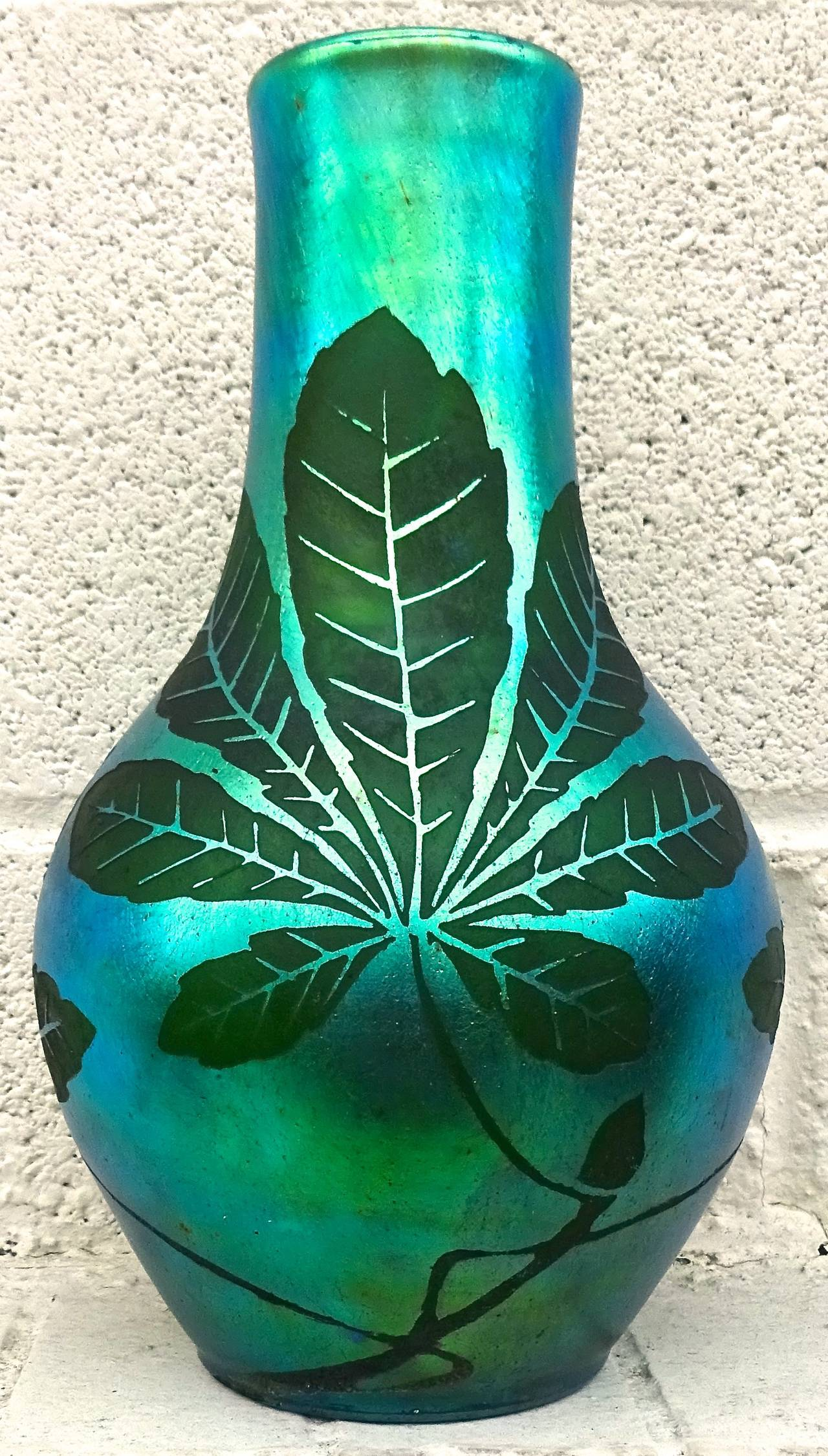 French Deco Iridescent Acid-Etched Art Glass Vase, 1920s For Sale 1