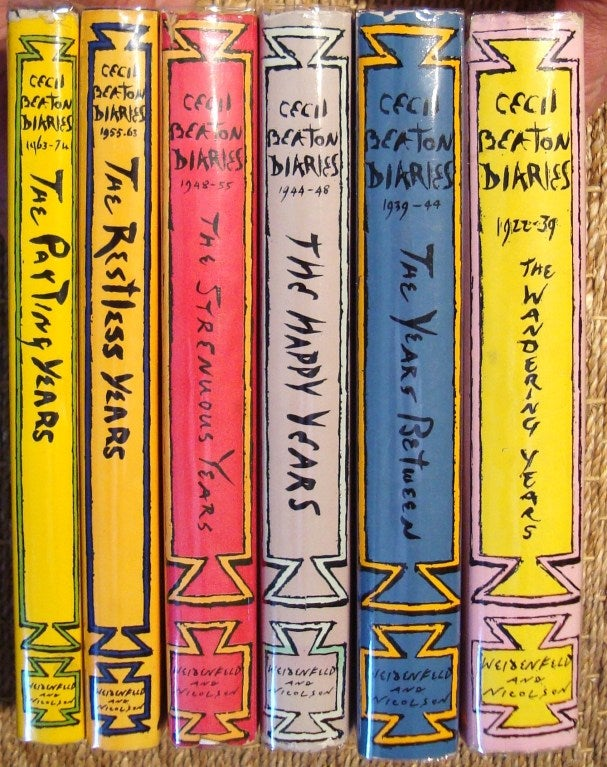 Rare complete six volume set by the legendary English 20th century bon vivant Sir Cecil Beaton. These were published in the order he wrote them throughout the 1960s-1970s.