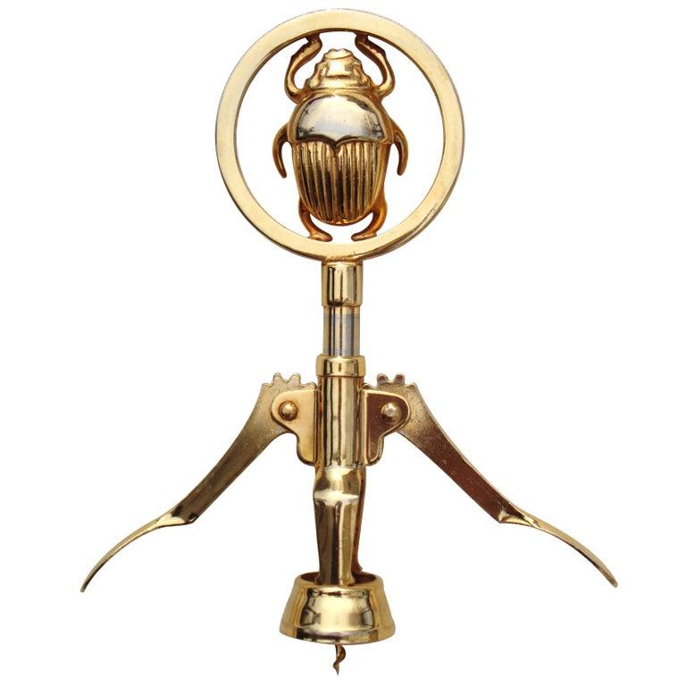 1970 39 s italian gold plated scarab wine key at 1stdibs. Black Bedroom Furniture Sets. Home Design Ideas
