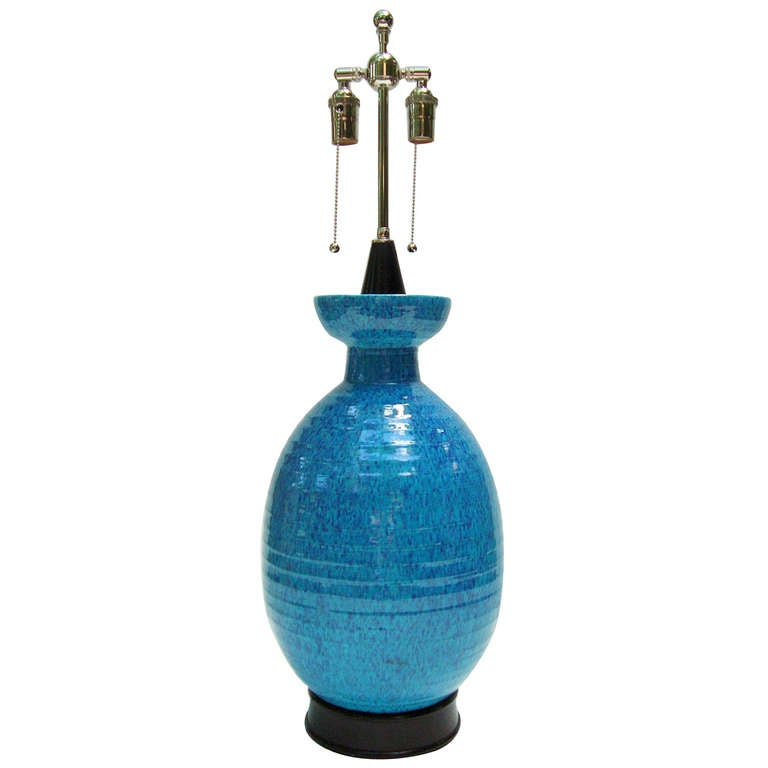 Tall Vibrant 1950s Art Pottery Table Lamp
