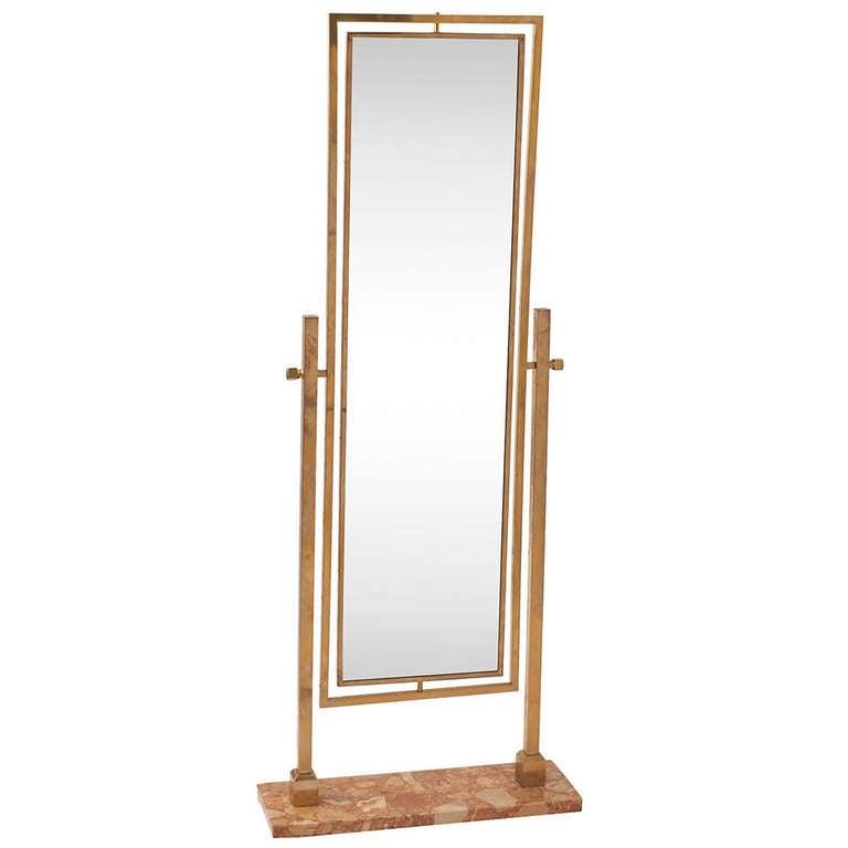 Brass floor length mirror