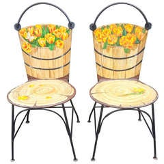 Pair of 1950's John Vesey Trompe L'oeil Painted Iron Chairs
