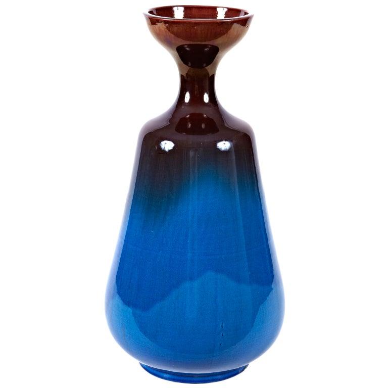 Tall Japanese Kyoto Ware Pottery Vase, C. 1950