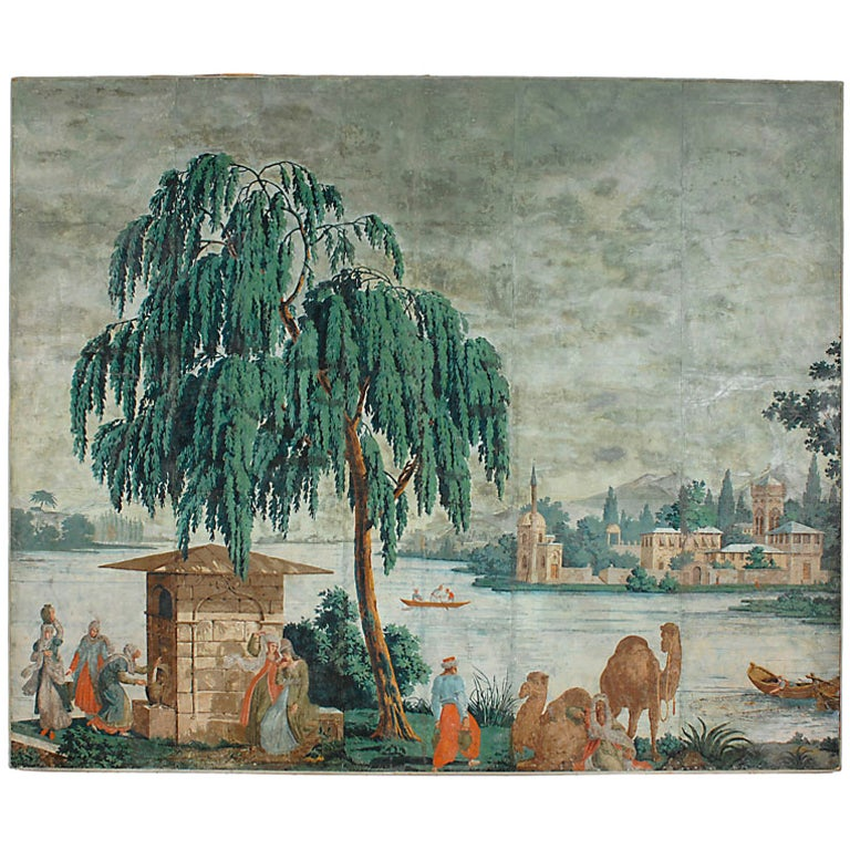 monumental 18th c zuber wallpaper panel at 1stdibs. Black Bedroom Furniture Sets. Home Design Ideas