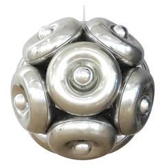 Large Sculptural 1970s Italian Chrome Orb Chandelier