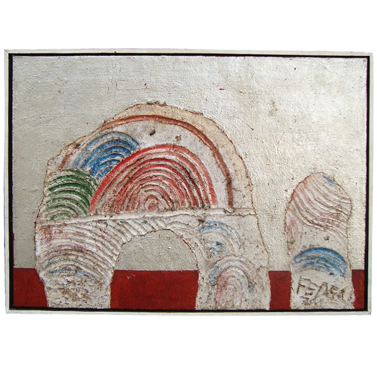 Abstract 1970s Francesco Fedeli Mixed Media Painting