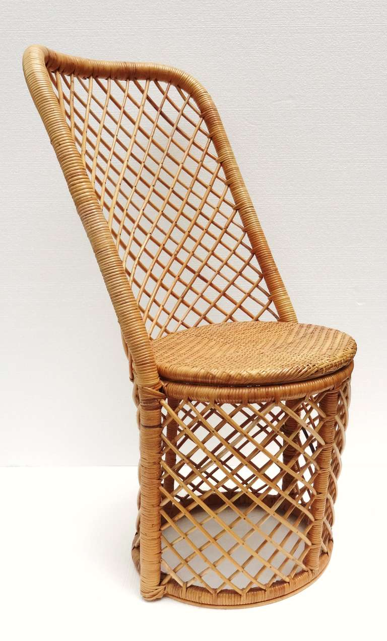 Set Of Six 1970s French Woven Rattan Dining Chairs At 1stdibs