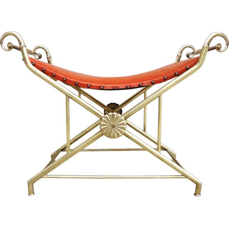 Architectural 1950s Italian Brass Bench