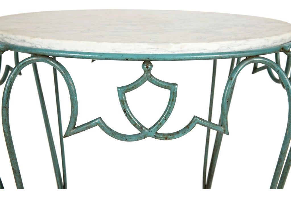 1940s French Rene Drouet Wrought Iron Side Table 2
