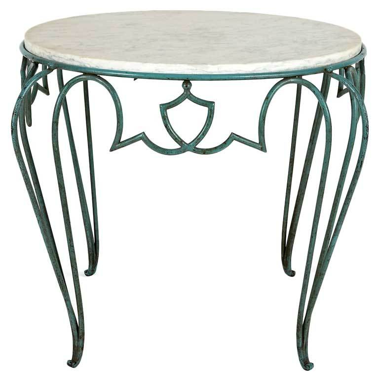 1940s French Rene Drouet Wrought Iron Side Table 1