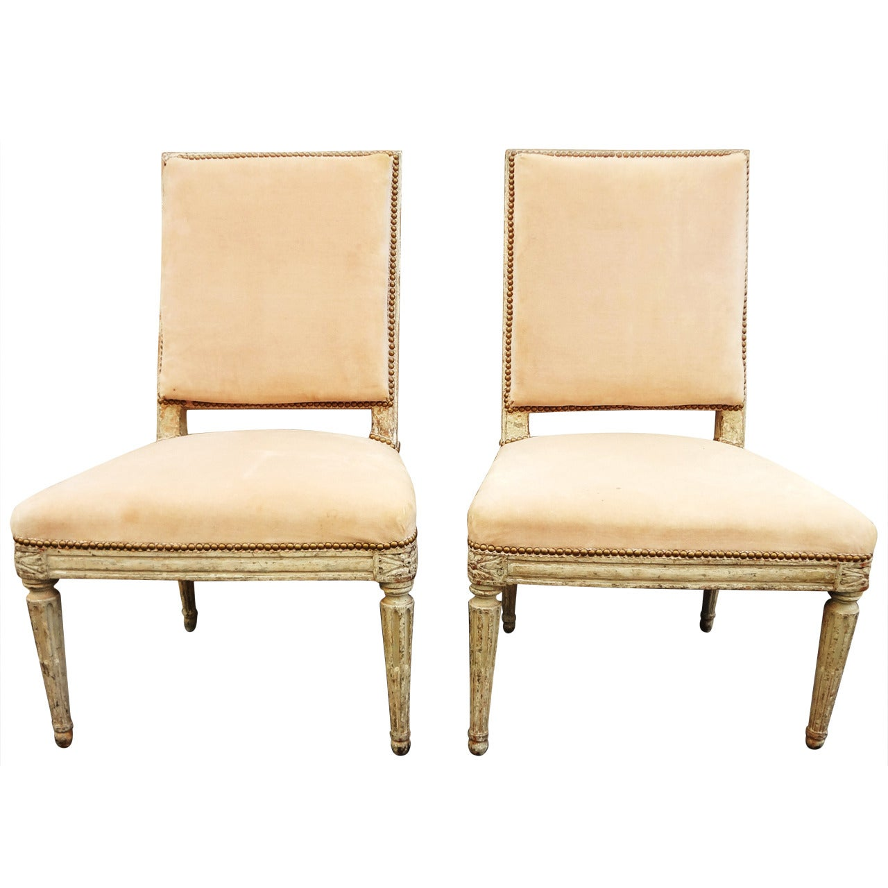 Pair of 18th century french painted side chairs collection of cole porter for sale at 1stdibs