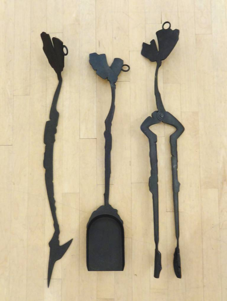 Sculptural Set of Wrought Iron Albert Paley Fireplace Tools, 1996 In Excellent Condition For Sale In Washington, DC