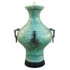 Monumental 1950's Italian Art Pottery Table Lamp