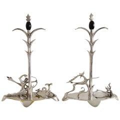 Stunning Pair of 1920s Art Deco Silver Sculptures, H. Ottmann