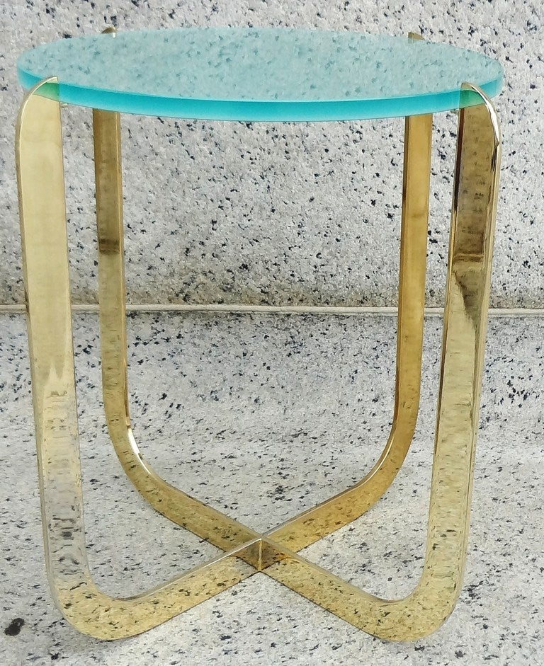 Chic 1970's Italian Bronze and Sandblasted Glass Drinks Table In Excellent Condition For Sale In Washington, DC