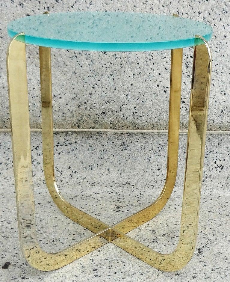 Chic 1970's Italian Bronze and Sandblasted Glass Drinks Table 2