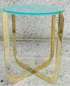 Chic 1970's Italian Bronze and Sandblasted Glass Drinks Table thumbnail 2