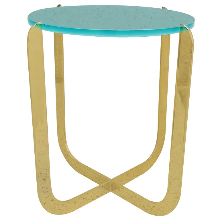 Chic 1970's Italian Bronze and Sandblasted Glass Drinks Table For Sale