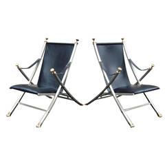 Pair of 1960s Steel and Leather Lounge Chairs After Maison Jansen