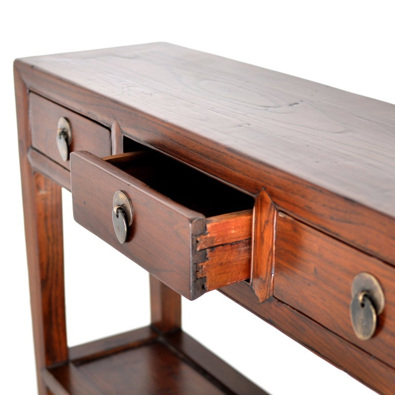 Small narrow three drawer chinese console at 1stdibs for Small console table with drawer