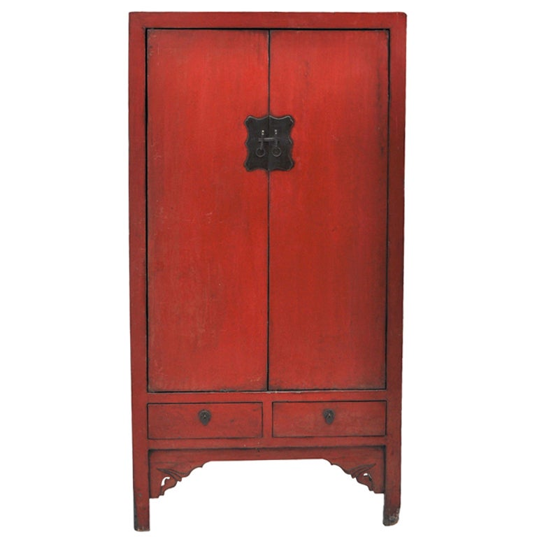 Red Lacquer Chinese Cabinet For Sale at 1stdibs
