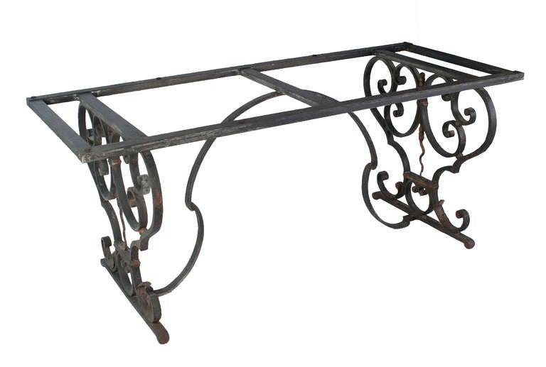 French Cast Iron Table with a Granite Top For Sale