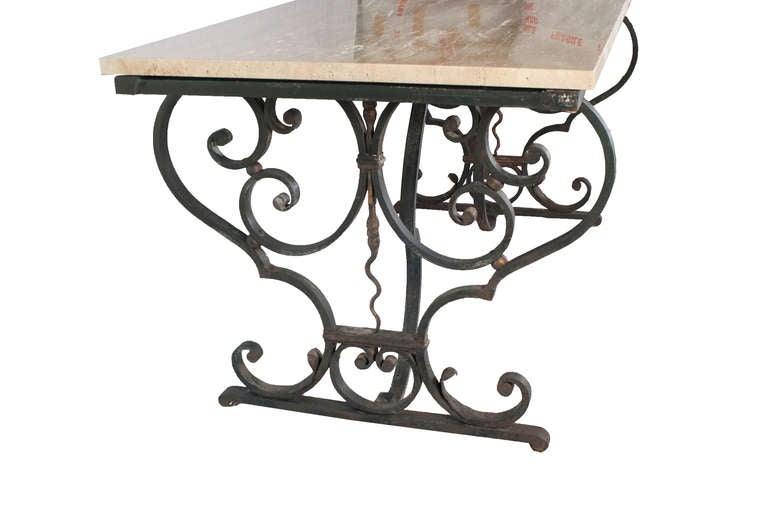 Decorative Cast Iron Table Base with a new Granite Top