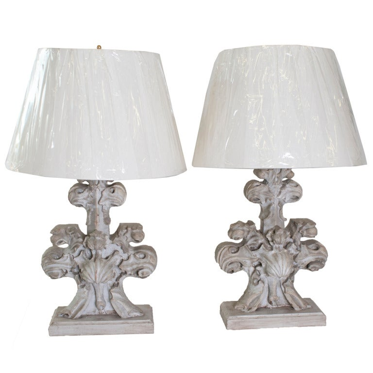 pair of grey painted carved wood architectural element base table lamps for sale at 1stdibs. Black Bedroom Furniture Sets. Home Design Ideas